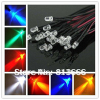 Wholesale Prewired Leds - Wholesale-free shipping 100pcs lot 5mm red green bule White LEDs Bulb 20cm Prewired 12V LED Lamp