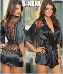 Wholesale-IMIXBOX Black Satin Sexy Lingerie Costume Pajamas underwear Sleepwear Robe and G-String S-XL from kimono sleep suppliers