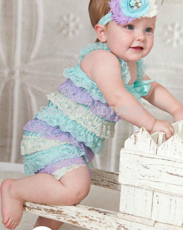 7ef430fc54e 2019 Cute Baby Lace Romper Top Quality Newborn Girl Lace Romopers Auqa  Lavender Ivory Romper Baby From Baili2015