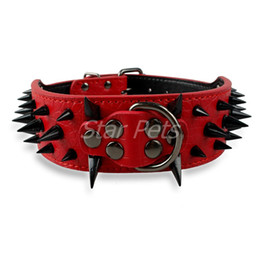"""Wholesale Spiked Leather Collar Pitbull - Wholesale-2inch Wide 12 Colors Sharp Spiked Studded Horn Nails Leather Dog Collars 15-26"""" For Pitbull Mastiff More Breeds 4 Sizes"""