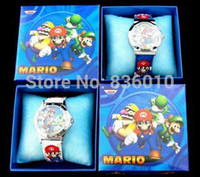 Wholesale Super Mario Cartoon Watch - Wholesale-Wholesale 10pcs Super Mario Bros Watches Children Cartoon watch Party Gifts fbiao9