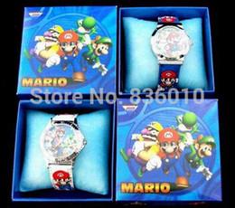 Wholesale Belts Children - Wholesale-Wholesale 10pcs Super Mario Bros Watches Children Cartoon watch Party Gifts fbiao9