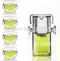 Wholesale Double Walled Teapot - Wholesale-FREE SHIPPING+ Coffee & Tea Sets +240ml glass flower teapot +4 Double-wall Cup + PIAOYi FCB001