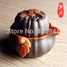 Wholesale Cup Pot Chinese Tea Set - Wholesale-gaiwan Purple sand purple clay tea sets Chinese Kung Fu Tea Quik Cup pot Two in one free shipping Travel tea maker Pumpkin shape