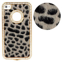 Atacado-Luxo Bling cristais strass Leopard para o iPhone 4 4G 4S Freeshipping Kimisohand