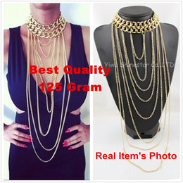 Long Body Chain Jewelry NZ - Wholesale-No Fade!Heavy Chunky Gold Chain Collar Multilayer Long Tassel Body Chain Statement Necklace For Women Dress Jewelry Item,B89