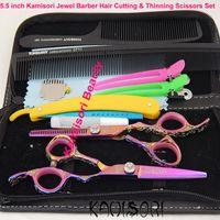 Wholesale Hair Scissors Hitachi - Wholesale-Professional 5.5 inch Kamisori Jewel Barber Hair Cutting & Thinning Scissors Set made of Japanese Hitachi 440C Stainless Steel