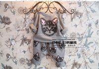 Wholesale Leisure Suit Pictures - Wholesale-xiu zhen ren 2015 autumn new girls fashion cat picture printing leisure suit height 90-130cm