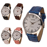 relógios de mulher quartzo de couro venda por atacado-Atacado-Senhoras Womens Mens PU de couro de quartzo analógico relógio de pulso frete grátisAtacado
