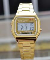 kronometre saatler toptan satış-Toptan-Lüks Paslanmaz Çelik Mens Womens Dijital LED Spor Alarm Kronometre İzle