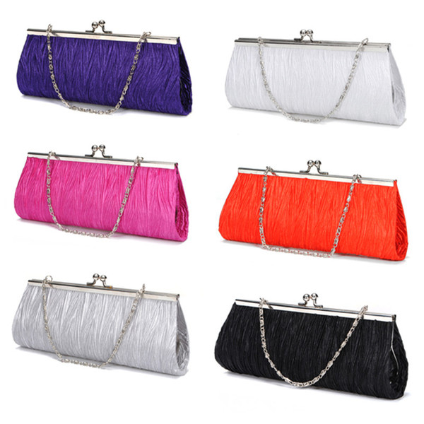 top popular Wholesale-Fashion Women Ladies Bridal Evening Party Clutch Bags Satin Pleated Elegant Holiday Purse Bag Handbags 4 Colors Hot Selling 2020