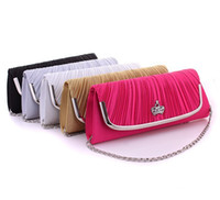 Wholesale Diamante Clutch Bags - Wholesale-New Ladies Satin Womens Diamante Evening Bridal Party Purse Handbag Clutch Bag