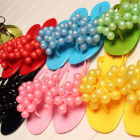 Wholesale Chunky Sandal Flats - Wholesale-2015 Hot Sale 6 Colors Grapes Design Women Sandals Flip Flops Lady Slippers Summer Flat Jelly Shoes Drop Shipping
