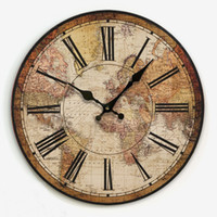 Wholesale Map Decorations - Wholesale-Free Shipping American Vintage Home Decoration Living Room Wall Clock Map Of The World W1090