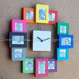 Wholesale Digital Photo Wall - Wholesale-New Gift Idea Decorate Family Home Multi Color 12 Picture Photo Frame Quartz Wall Clock Free Shipping & Drop Shipping