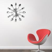 Wholesale Utensils Clock - Wholesale-Modern Design Metal Sliver Cutlery Kitchen Utensil Wall Clock Spoon Fork Clock Wall Clock Clocks Wholesales Free Shipping