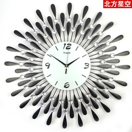 Wholesale Design Novelty Wall Clock - Wholesale-Big digital glass iron wall clock modern design large 58.5cm home decoration,novelty items and home use wholesale,free shipping