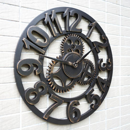 large decorative rustic retro art luxury vintage wooden gear wall clock large on the wall