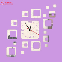 Wholesale Crystal Framed Wall Mirrors - Wholesale-New arrival 2015 Silver and black squares wall clock modern design luxury mirror wall clock,3d crystal mirror clocks,frame!