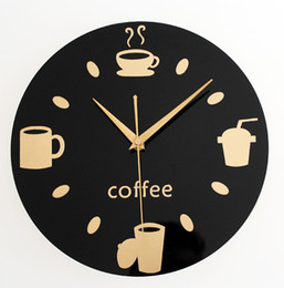 Wholesale Antique Chinese Cup - Wholesale-033116 wall clock safe modern design digital vintage large led kitchen decorative mirror gift present Coffee cup tableware