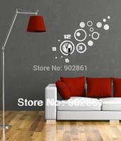 calendario controlado por radio al por mayor-Venta al por mayor- [funlife] -Envío gratuito DIY 122 * 98cm (48 * 38.6in) Moderno Creativo DIY Cuarzo Círculos Combinación Decoración para el hogar