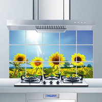 Wholesale Sunflower Stickers Free Shipping - Wholesale-Free shipping Kitchen sticker Waterproof oil,Sunflower Wall sticker 45cmX75cm