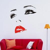 pared de los labios al por mayor-Al por mayor-DIY hermoso CHERYL COLE cara ojos y labios arte de la pared etiqueta engomada pintura habitación decoración del hogar acabado tamaño 58x60cm / 96x100cm