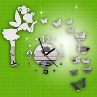 Wholesale Mirror Clock Fairy - Wholesale-Modern Style Butterfly Fairy DIY Mirror Wall Clock Wall Sticker Home Decor Free shipping &wholesale