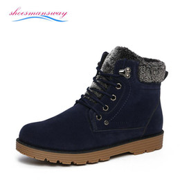 Wholesale Blue Ankle Booties - Wholesale-Men's Winter Furry Boots Warm Men Ankle Boots With Fur Mens Snow Boots Cheap High Top Punk Shoes Black Booties Size 39 to 44