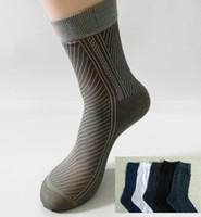 Wholesale Silk Sox - Wholesale-Free Shipping 40pcs=20pairs lot Man's Fashion Socks, half stocking from factory, stripe style, men silk sox soks