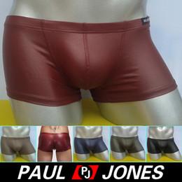 Homens calças curtas de couro on-line-Atacado-cuecas para homens Faux Leather Underwear Men Sexy Men Underwear Boxers Calça boxer shorts no verão