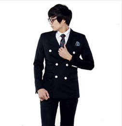 Wholesale Men S Marriage Suits - Wholesale-FOLLOW THE FASHION STYLE!2015 HOT-SALE AND FASHION KOREAN STYLE SLIM DUBBLE-BREASTED BUSINESS AND MARRIAGE MEN SUITS