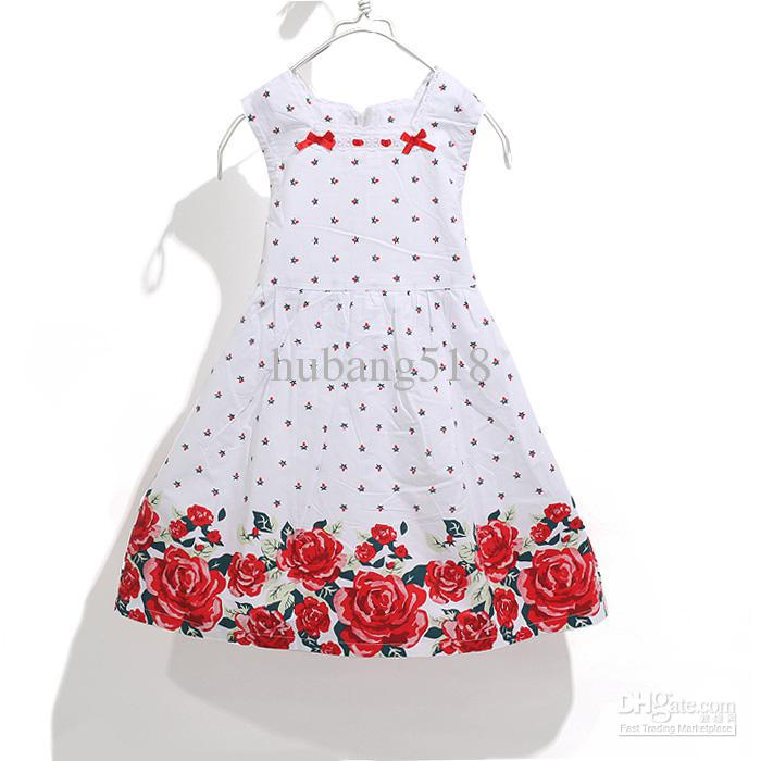 2017 Girls Dresses Girls Cotton Chinese Rose Sleeveless Dress ...