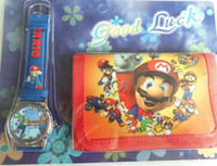 Wholesale Mario Wallets - Wholesale-New Free shipping 1pcs lot Cartoon Super Mario love watch Wristwatches with purses Wallet