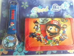 Wholesale Love Watch Wristwatches - Wholesale-New Free shipping 1pcs lot Cartoon Super Mario love watch Wristwatches with purses Wallet