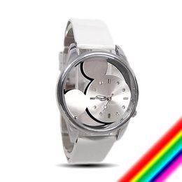 Wholesale Watch Mouse - Wholesale-Mickey Mouse cartoon leather fashion quartz watch women children wristwatch P146