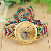 Gros-New Style ethnique Relojes Mujer originale Weave Bracelet Montres main Reloj Pulsera Mujer Elephant Montre