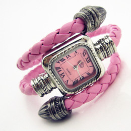 Wholesale Cow Leather Wrap Watch - Wholesale- New Cow leather snake Bracelet Watches Wrap Winding Ladies Women's Vintage Wrist watches