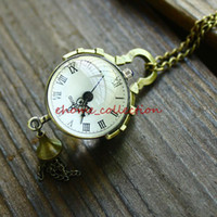 Wholesale Vintage Magnifier - Wholesale-Fashion Small tassel globe vintage necklace vintage reminisced spherical magnifier pocket watch long necklace