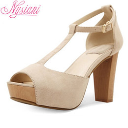 Wholesale Nude Thick Heel Sandals - Wholesale-2015 T Strap High Heels Platform Sandals For Women Fashion Casual Buckle Strap Peep Toe Ladies Thick Heels Pumps Sandals