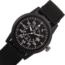 Wholesale Cool Wrist Bands - Wholesale- Men Nylon Band Stainless Steel Back Waterproof Quartz Watch Military Army Cool Mens Sport Fitness Wrist Watches Clock Male