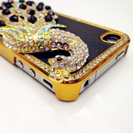 Wholesale Peacock Rhinestone Iphone Case - Wholesale-New Fashion Black Luxury Bling Peacock Synthetic Leather Rhinestone Diamond Crystal Back Skin Case Cover for iPhone 4 4S