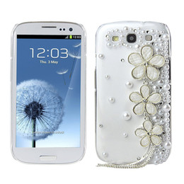 Wholesale Galaxy S3 Design - Wholesale-Clear Handmade Crystal Flower Design Tassel Diamond Rhinestone Case Cover for samsung Galaxy S3 I9300