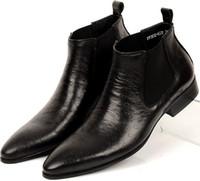 tan formale schuhe großhandel-Großhandels-neue Mens-Geschäftsschuhstiefel schwarz / Brown tan Art- und Weisemens-Ankle-stiefel spitzes echtes Leder-Mens-Kleid beschuht formales