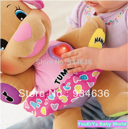 Wholesale Dog Laugh Learn - Free shipping Hot new pink color musical Dog Laugh and Learn Love to Play Puppy Baby Plush Musical Toys Singing English Songs