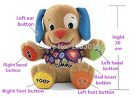 Wholesale Musical Dog Baby Toys - Wholesale-Low price! Fisher Dog Toys Baby Musical Plush Electronic Toys Dog Singing English Songs Learning&Education Love To Play Puppy