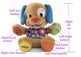 Wholesale Electronic Puppy - Wholesale-Low price! Fisher Dog Toys Baby Musical Plush Electronic Toys Dog Singing English Songs Learning&Education Love To Play Puppy