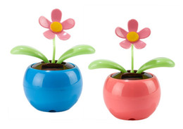Wholesale Magic Cute Swing Flower - Wholesale-2pcs set Bee Happy Solar Toy Swing Dancing Magic Cute Solar Flower Sunflower Toy Home Car Decoration Blue and Pink Free Shipping