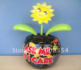 Wholesale China Solar Toys - Wholesale-solar powered dancing flower toy pot print 10pcs per lot Free shipping via China post air mail
