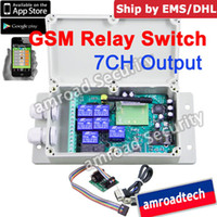 Wholesale Ems Switch Box - Wholesale-1set 7CH GSM SMS Remote Control Relay Output Contacts Switch Box 850 900 1800 1900Mhz SUPPORT APP CONTROL AT-GR07, by DHL EMS